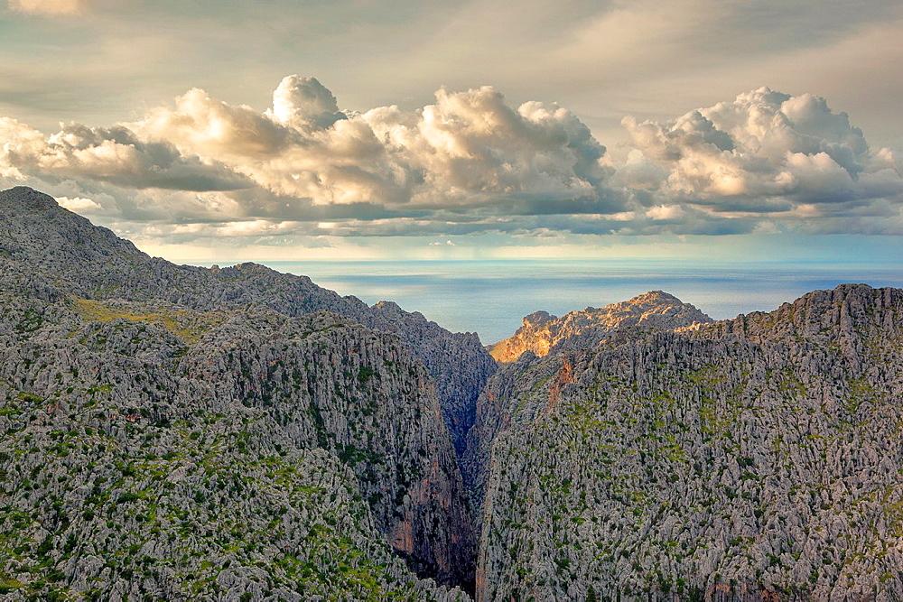 Entreforc junction at Torrent de Pareis canyon. Escorca area. Tramuntana mountains. Majorca, Balearic islands, Spain.