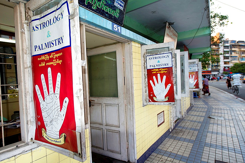 Astrology and palmistry shops outside Sule Paya Temple in Yangon in Myanmar. - 817-472164