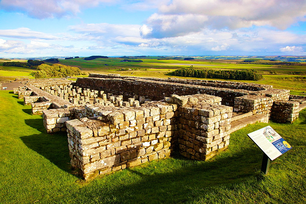 Housteads Roman Fort Granary on Hadrianís Wall National Trail, Northumberland England United Kingdom Great Britain. - 817-472189