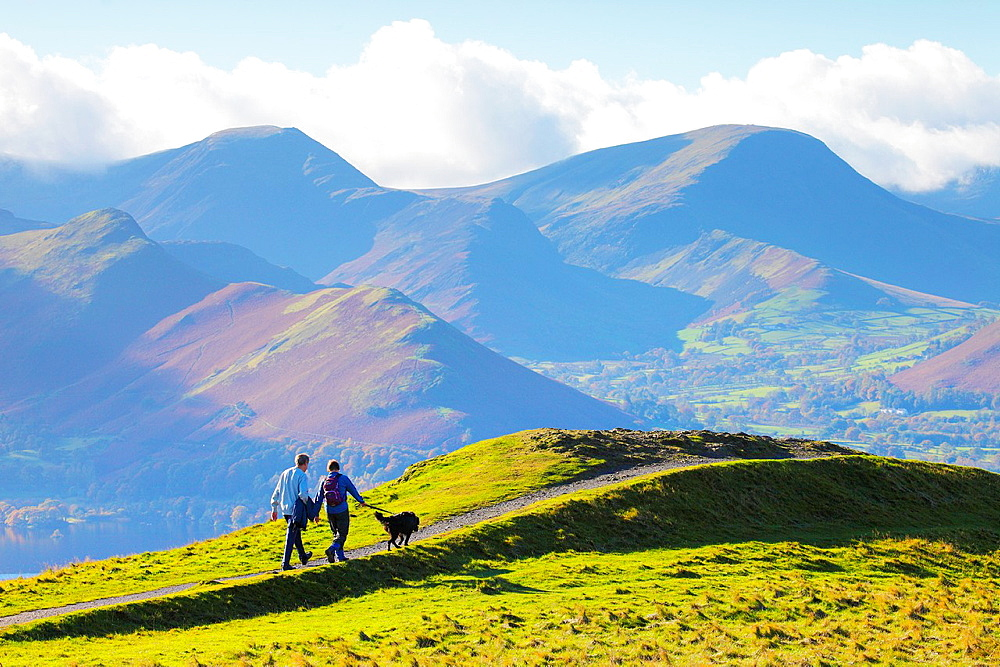 Walking the dog on Latrigg Lake District National Park Cumbria England United Kingdom Great Britain. - 817-472190