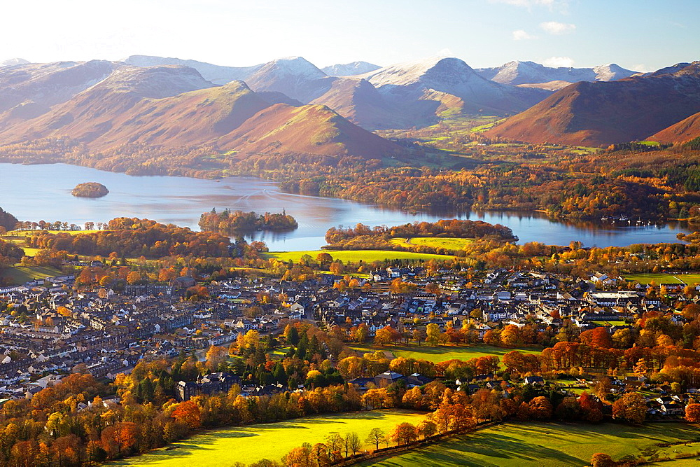 View above Keswick & Derwent Water in the Lake District National Park with the Northern Fells in background. Autumn. - 817-472198