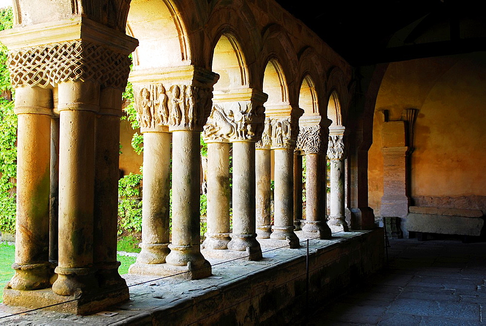 Cloisters of the Romanesque Colegiata of Santillana del Mar, XII century, Cantabria Region, Spain - 817-472217