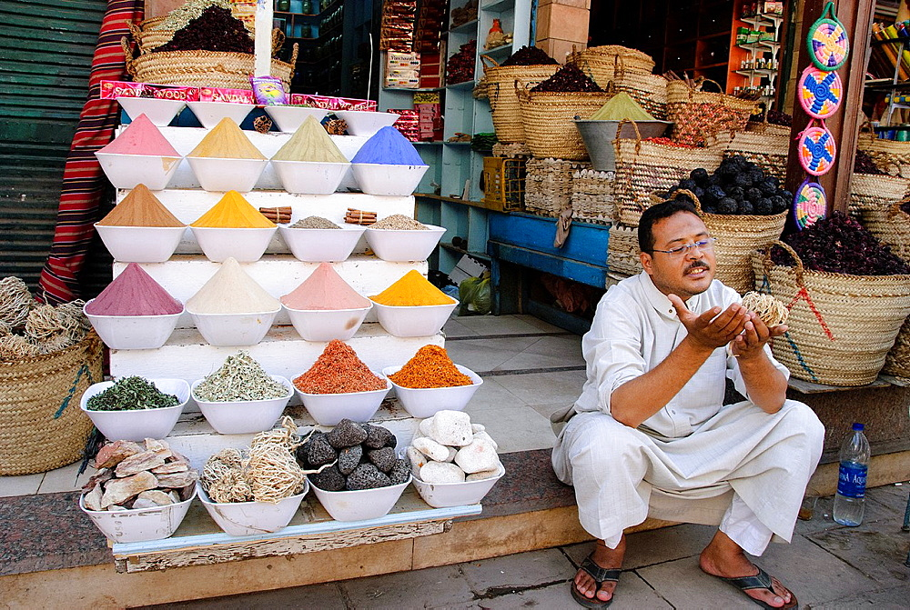 Spice shopkeeper - Aswan, Upper Egypt. - 817-472253