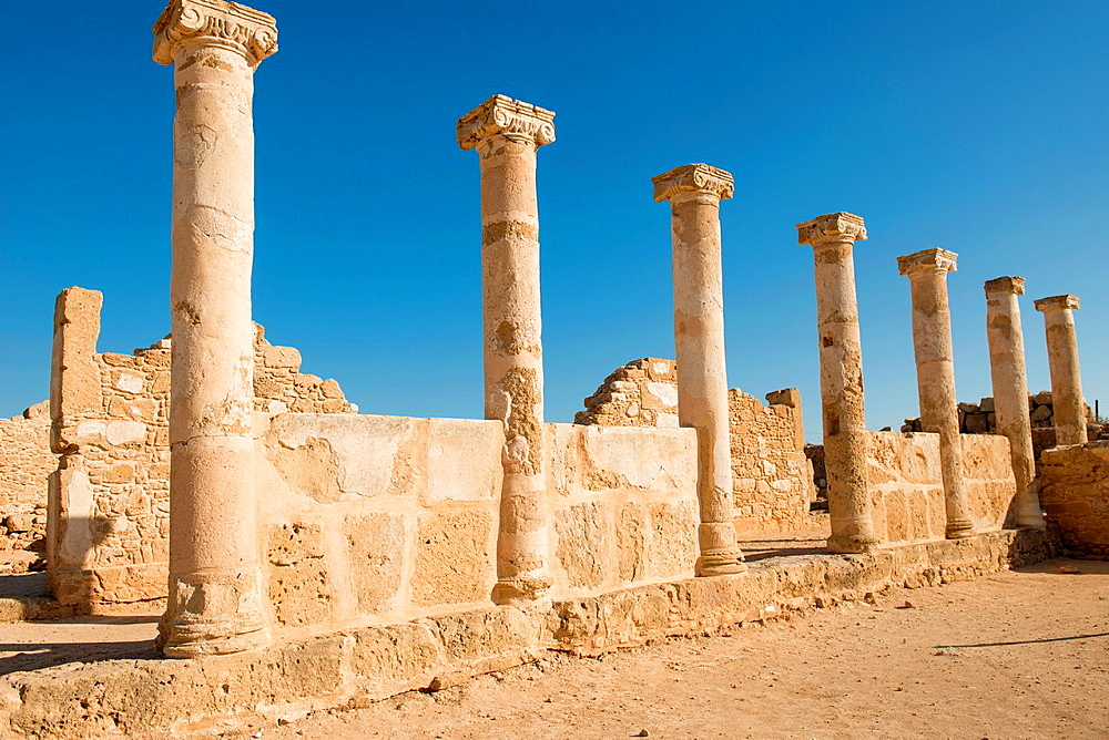 Ancient Columns in the Nea Paphos in Cyprus is sited on the UNESCO world heritage.