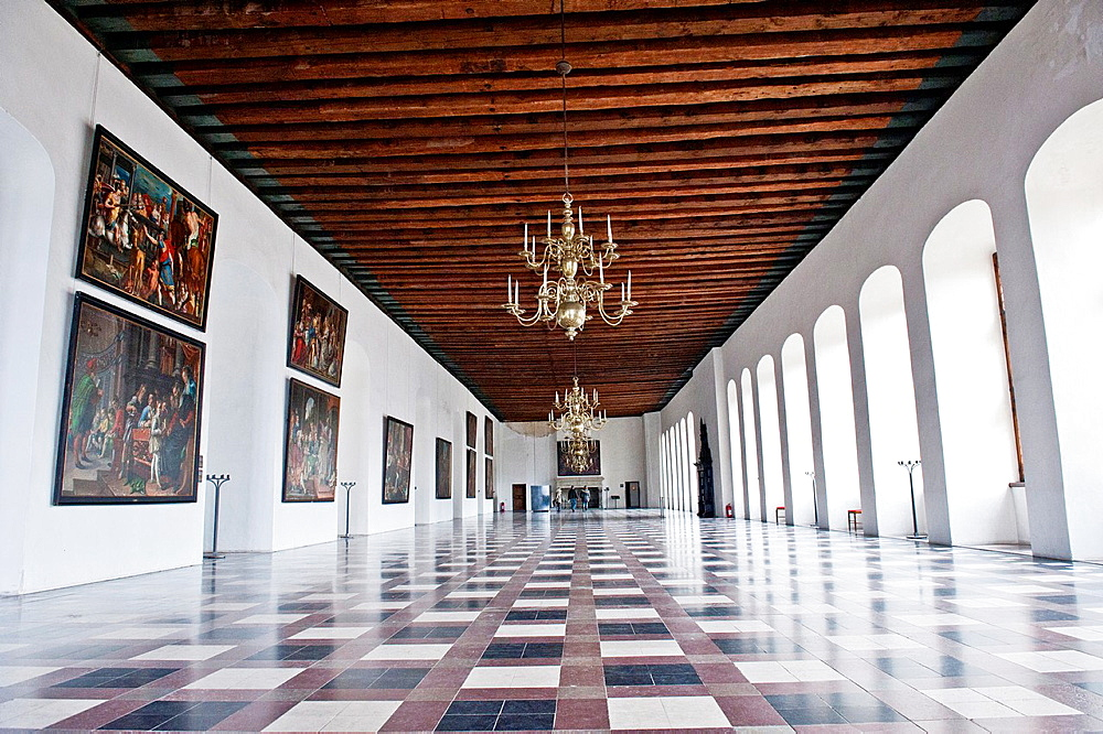 The hall of Kronborg Castle is the royal residence in Copenhagen Denmark. - 817-472325