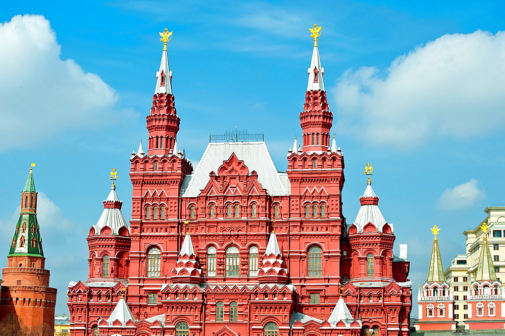 Building of the Historical museum on Red Square in Moscow, taken on April 2012. - 817-472330