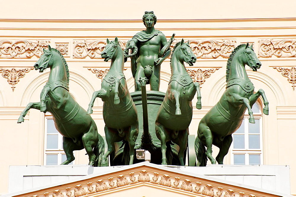 Sculptural composition on a facade of the Bolshoi theater in Moscow.