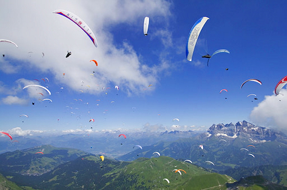 Group of paragliders, Morzine, France, Europe