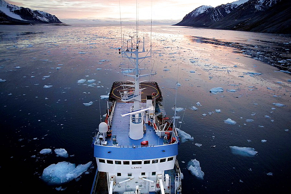 On board Norwegian Polar Institute 'RV Lance' research ship for climate change investigations, Spitsbergen island, Svalbard archipelago, Arctic Ocean, Norway