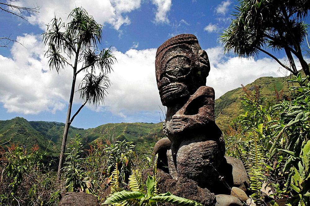 Tiki at Hiva Oa island, Marquesas islands, French Polynesia