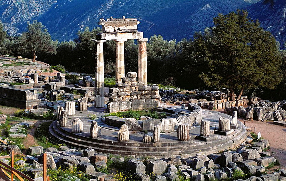 Tholos Temple in Sanctuary of Athena Pronaia (4th century B.C.), Delphi, Greece