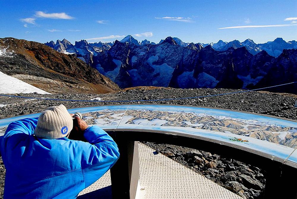 French Alps, View from Mont-de-Lans glacier, Ecrins National Park, Les Deux Alpes, Rhone-Alpes, Isere, France.