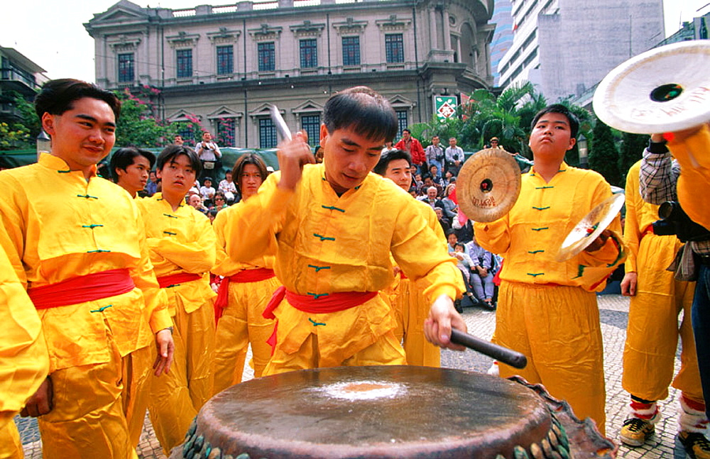 Drums for Chinese new year festivities, Macau, China