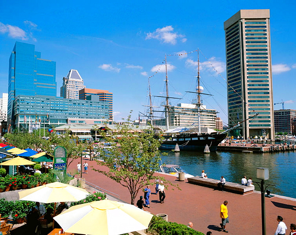 USS Constellation at inner harbour, Baltimore, USA
