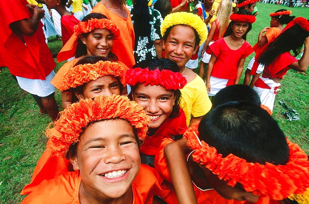 Children at festival, Tahiti, French Polynesia