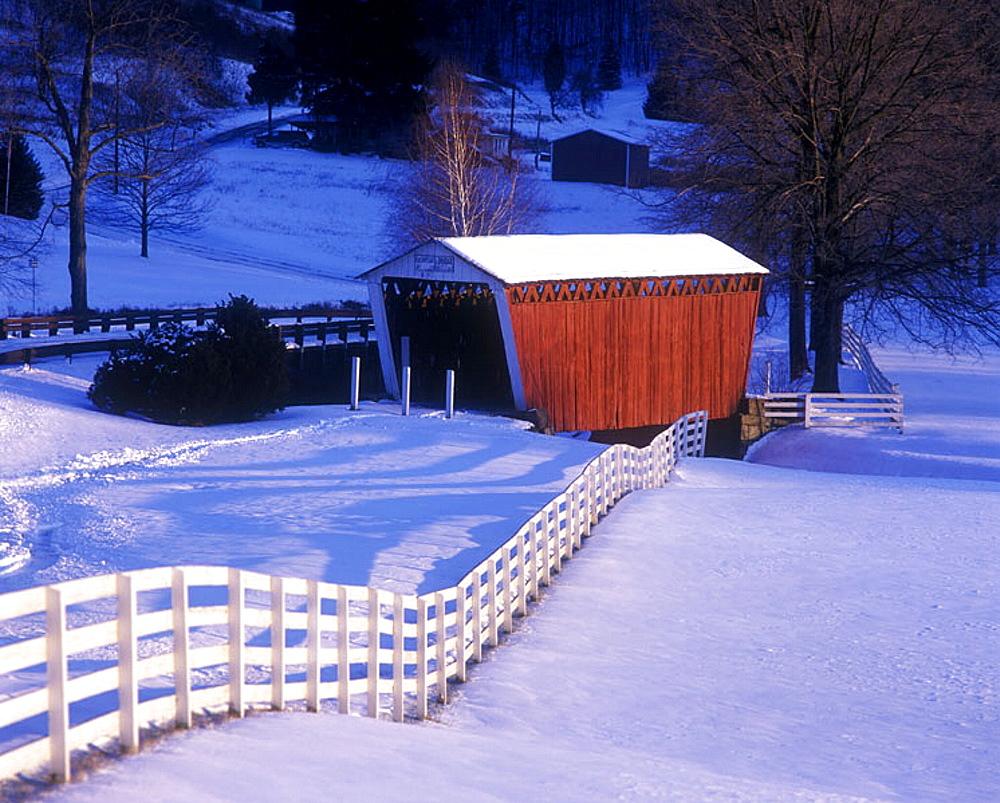 Snow scenic, Harmon covered bridge plum Creek, Indiana county, Pennsylvania, USA.