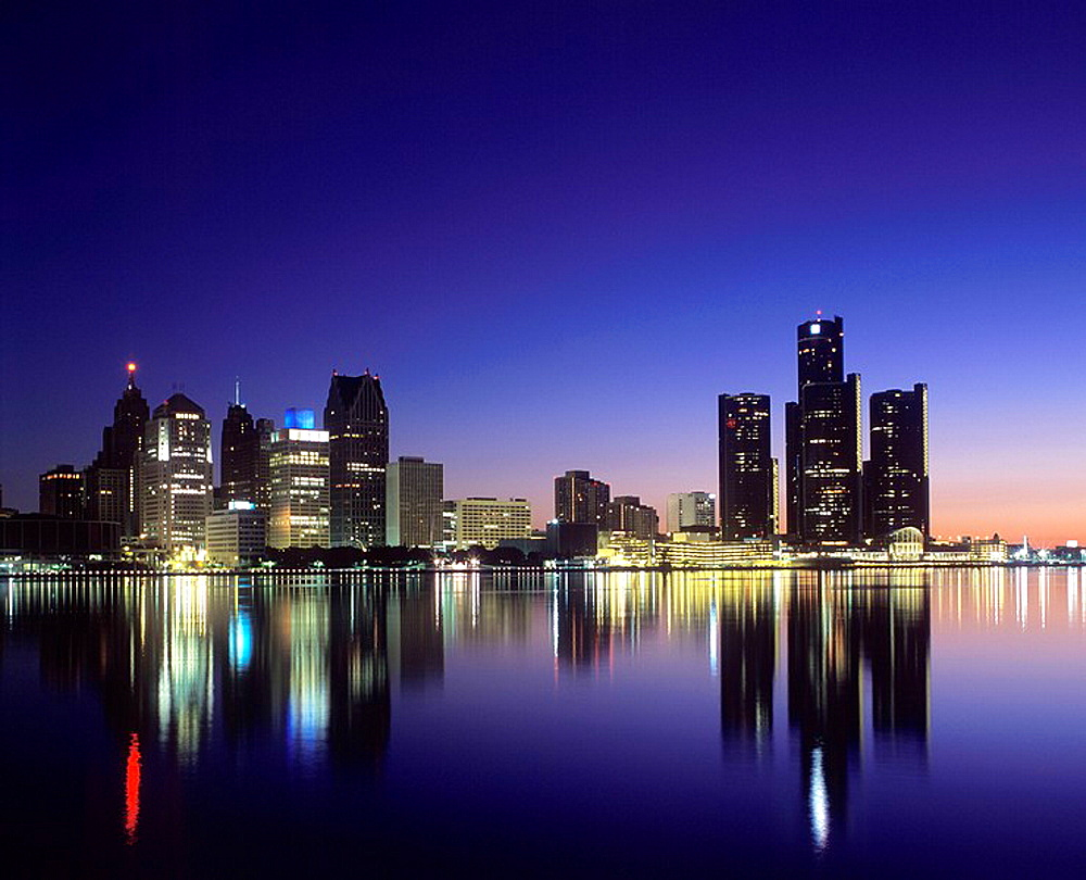 Downtown skyline, Detroit, Michigan, USA.