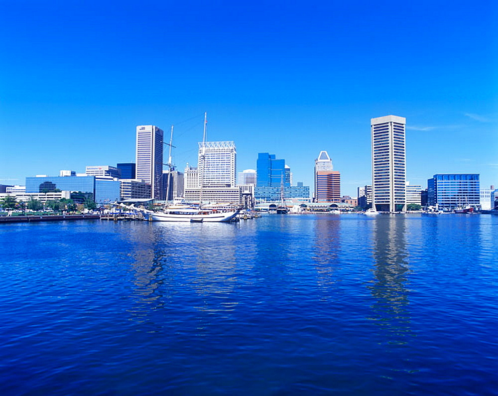Inner harbour skyline, Baltimore, Maryland, USA.