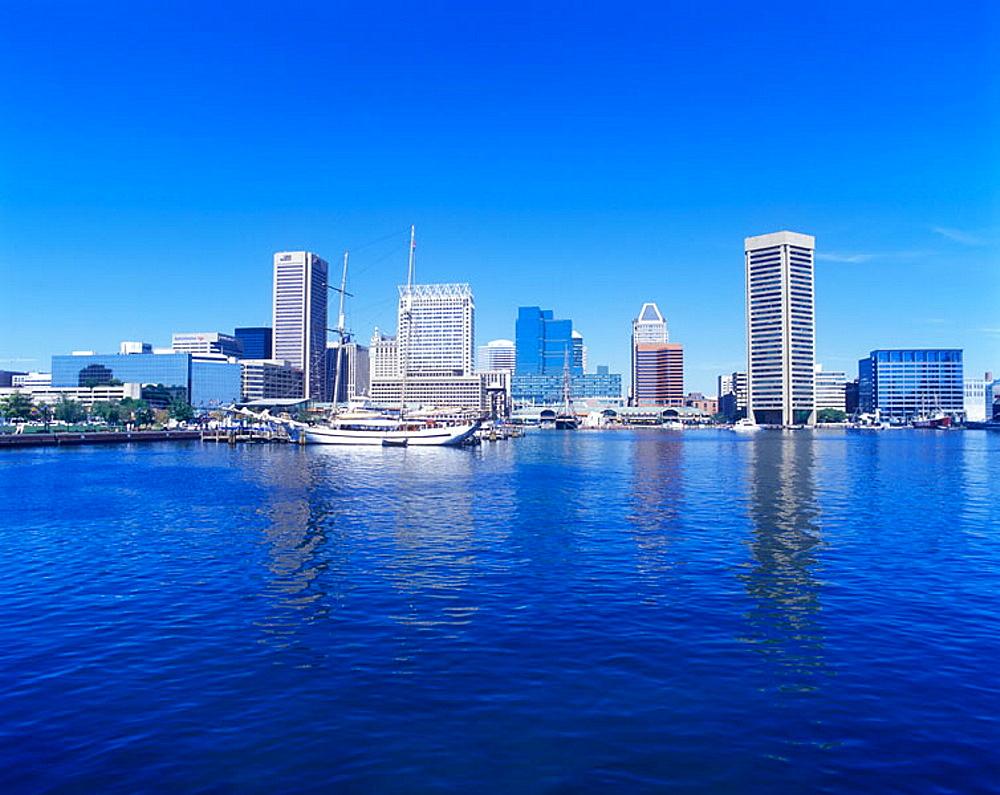 Inner harbour skyline, Baltimore, Maryland, USA.