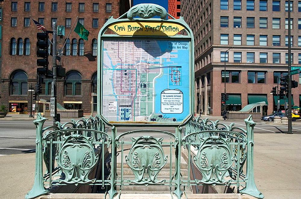 VAN BUREN STREET METRA, MICHIGAN AVENUE, CHICAGO, ILLINOIS, USA
