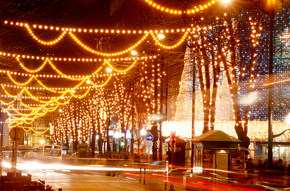 Gran Via with Christmas lights, Bilbao, Spain