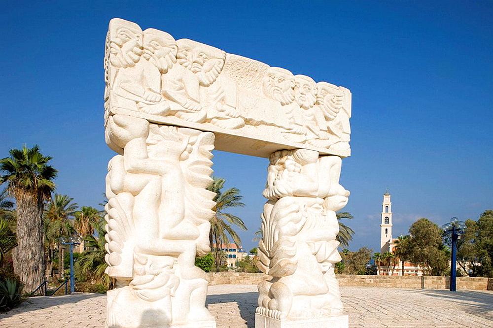 Carved stone arch abrasha park old city jaffa, Israel.