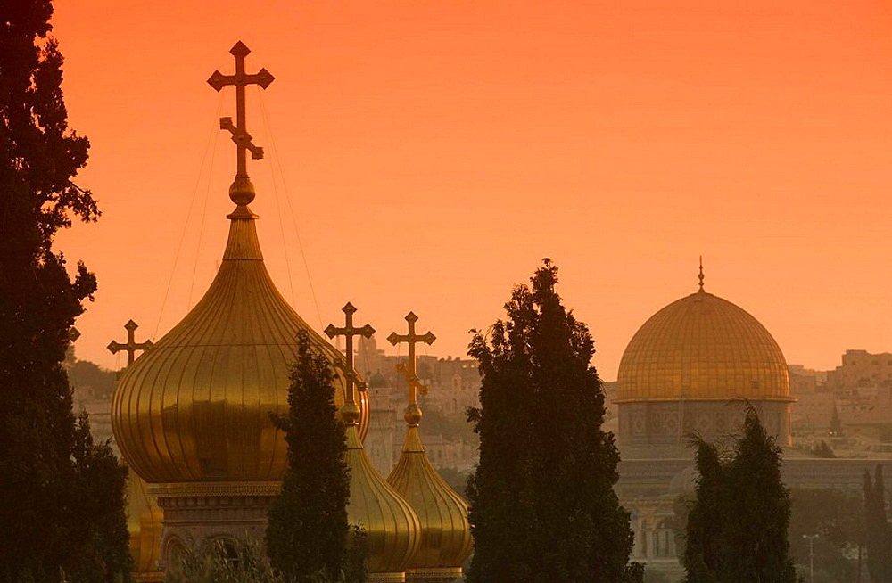 Russian orthodox church domes and dome of the rock temple mount old city jerusalem, Israel.