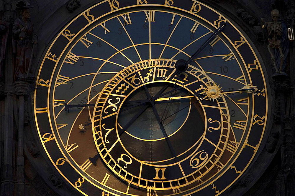 Astronomical clockface old town hall staromestske namesti, Prague, Czech Republic.