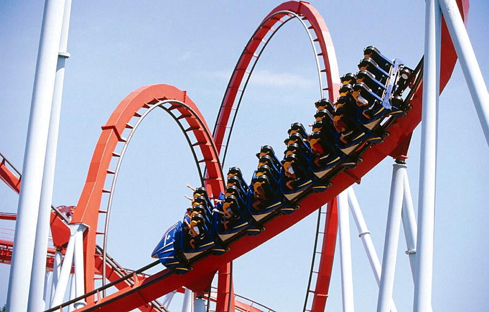 Dragon Khan Roller coaster, Universal Port Aventura Theme Park, Tarragona, Catalonia, Spain