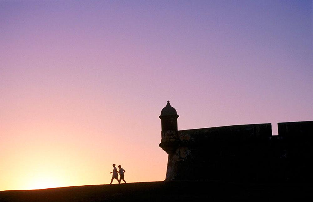 Fortress of El Morro at sunset, San Juan, Puerto Rico