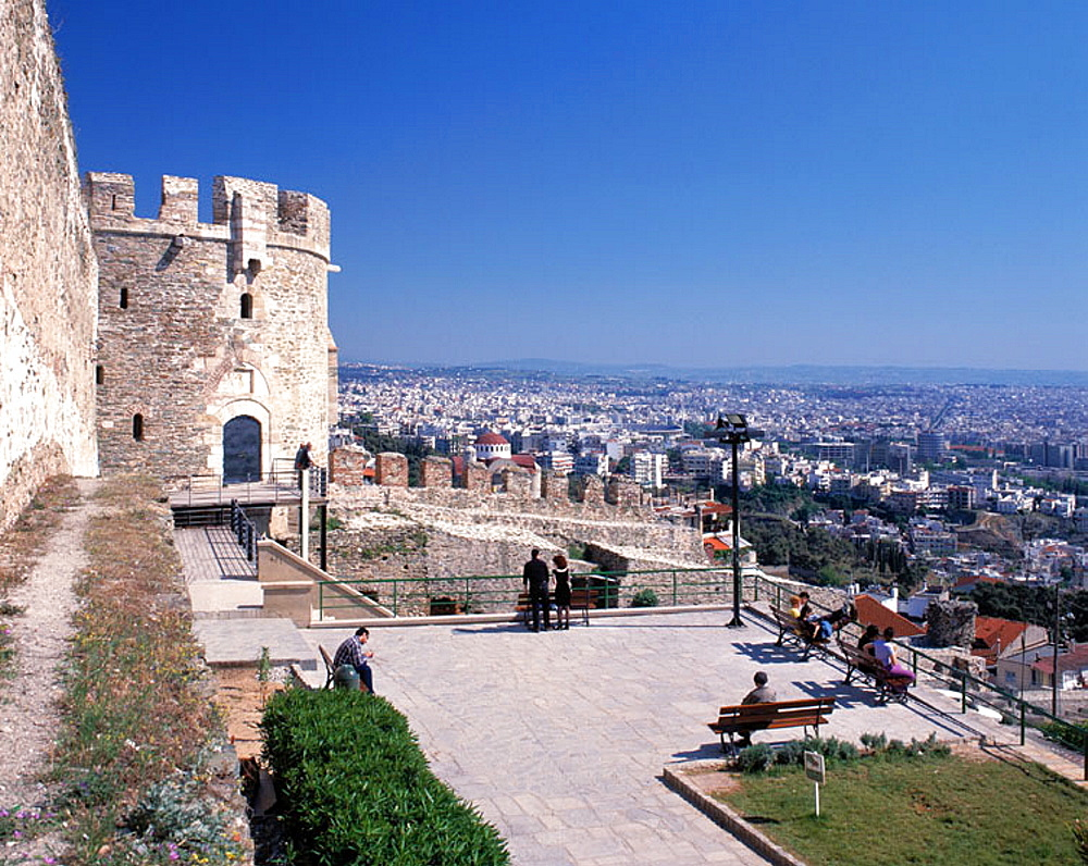 Trigonion Tower and city view, Ano Poli (upper city), Thessaloniki, Greece