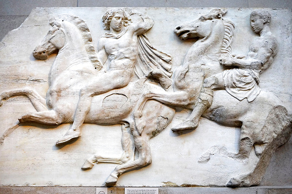 Horsemen from the west frieze of the Parthenon, The Parthenon sculptures, The British Museum, London, England, UK.
