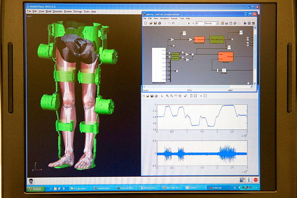 Biomechanics: researchers developing exoskeleton intended for people suffering from muscular weakness in the lower limbs, Fatronik Foundation, Research Technology Center, Donostia, San Sebastian, Gipuzkoa, Euskadi, Spain.