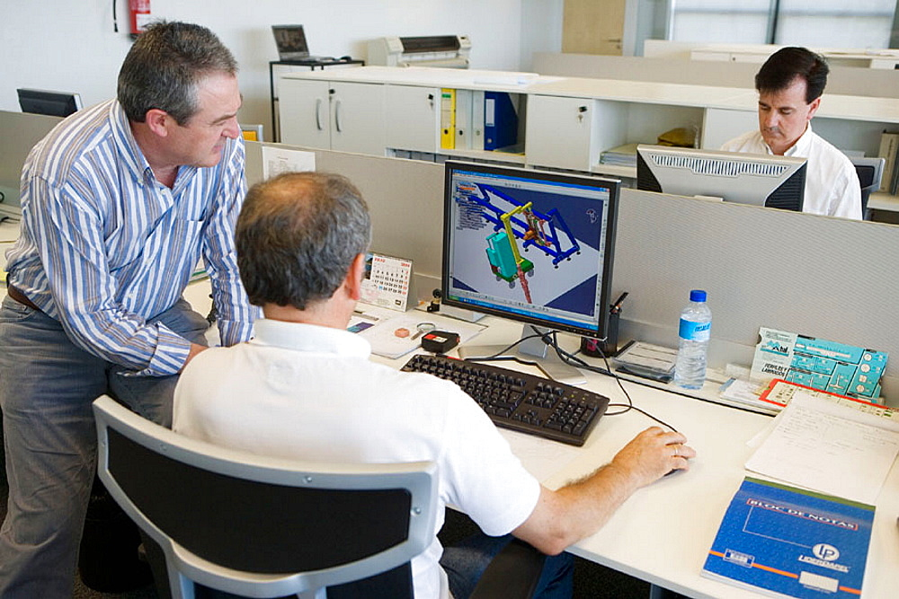 Designers working with PCs, Cad Cam, Fatronik Foundation, Research Technology Center, Donostia, San Sebastian, Gipuzkoa, Euskadi, Spain.