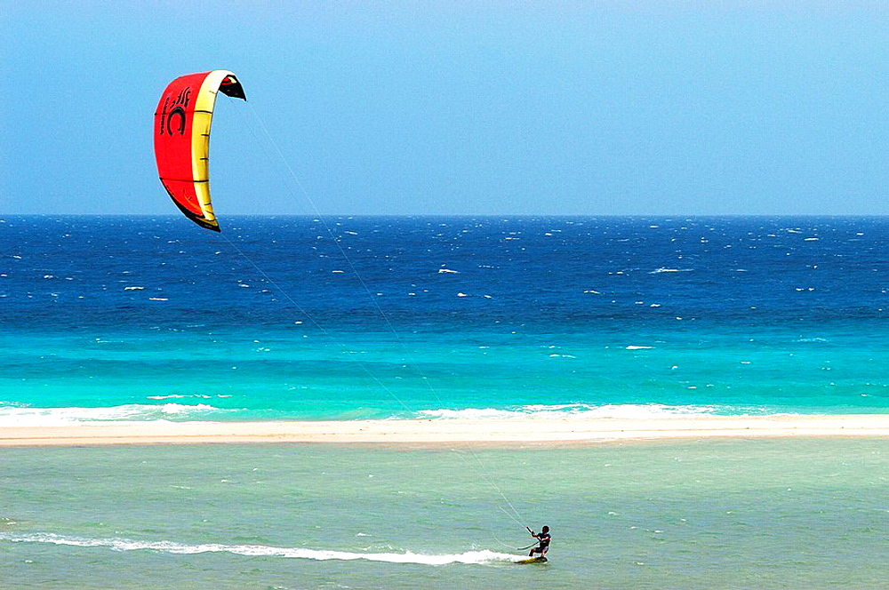 Kite surfing at Los Gorriones beach, Fuerteventura, Canary Islands, Spain