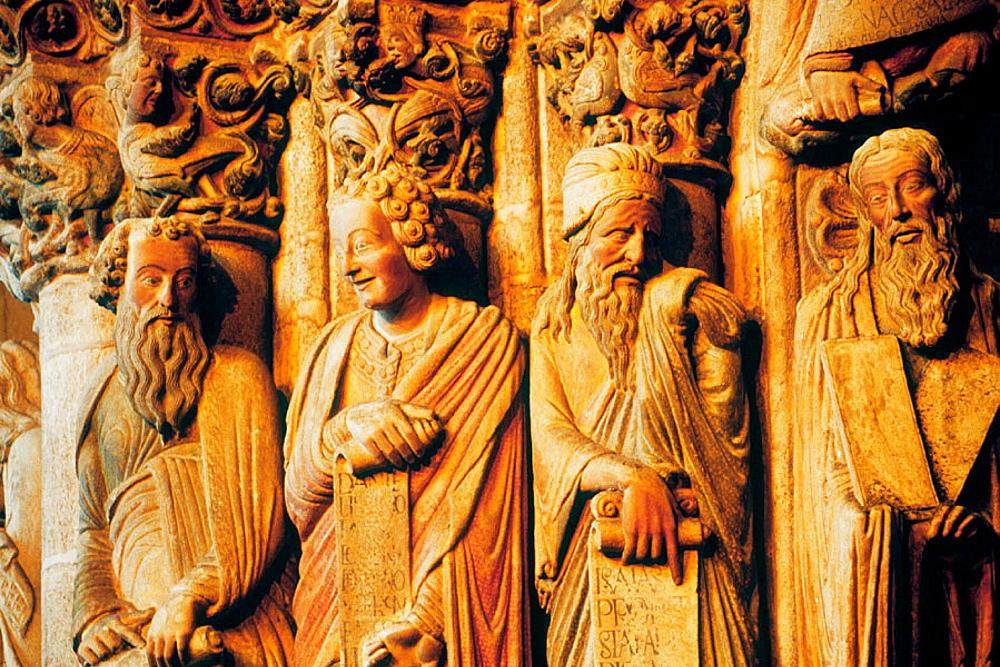 Prophet Daniel smiling at Portico de la Gloria of the cathedral, Santiago de Compostela, La Coruna province, spain