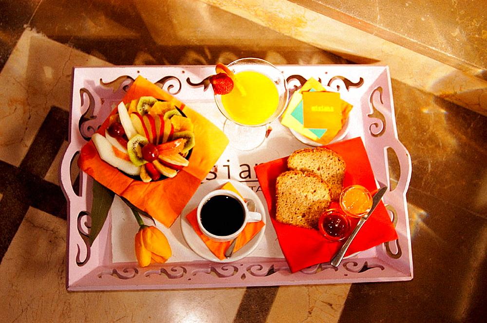 Breakfast at Hotel Misiana, Tarifa, Cadiz province, Spain
