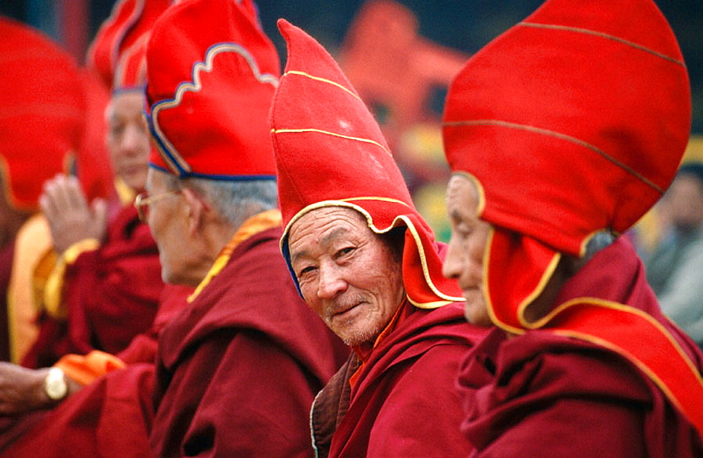 Buddhist monks during Tibetan New Year celebration, Sikkim, India