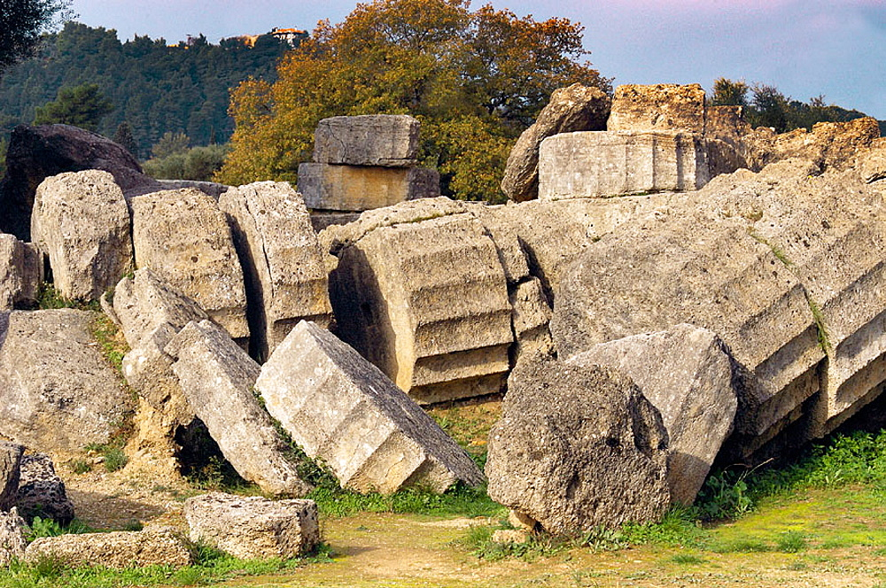 Temple of Zeus, ruins of ancient Olympia, Peloponnese, Greece