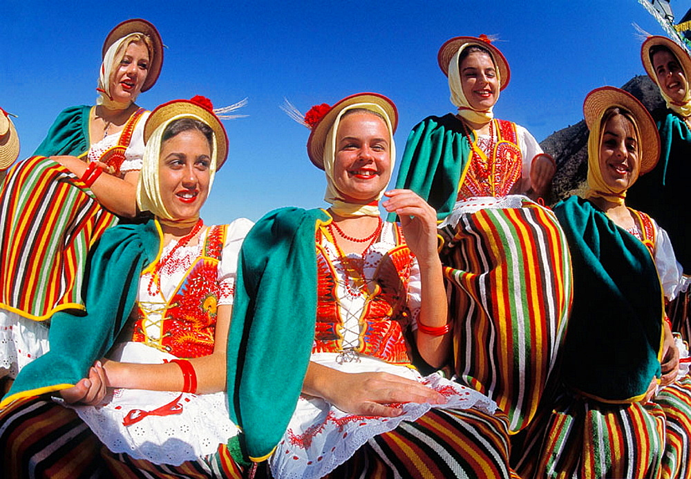 Women in traditional costumes, La Orotava, Tenerife, Canary Islands, Spain - 817-69061