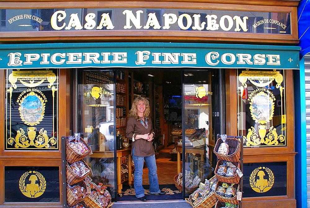 France, Corsica, 'Epicerie fine Corse, Casa Napoleon', at Ajaccio.