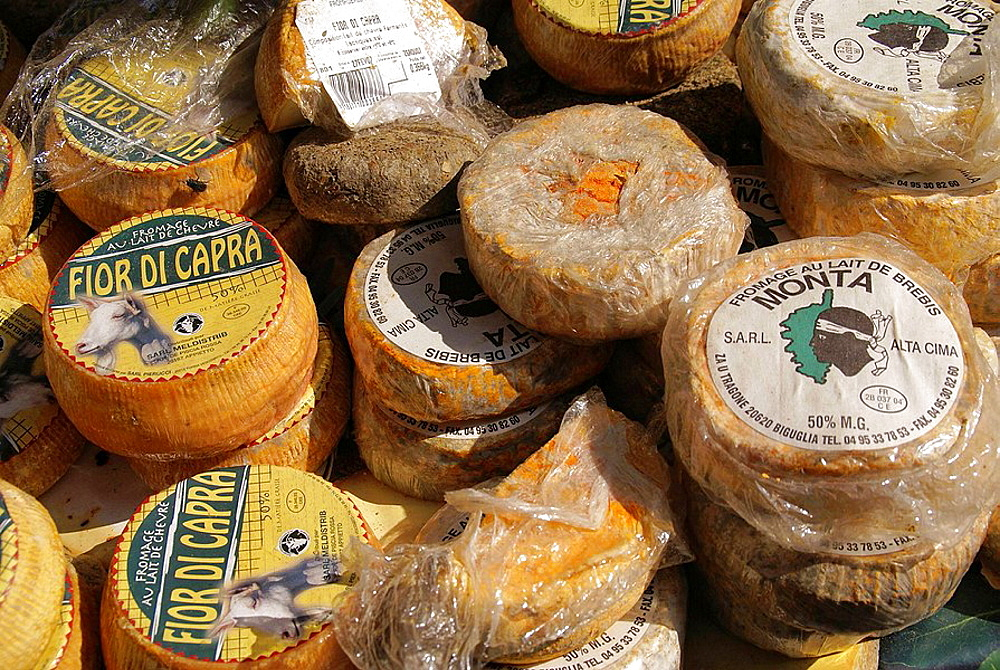 France, Corsica, Corsican cheeses, Food.