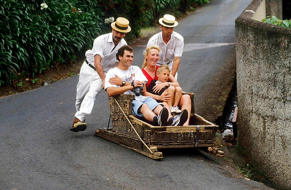 Traditional basket toboggans from Monte to Funchal, Madeira, Portugal.