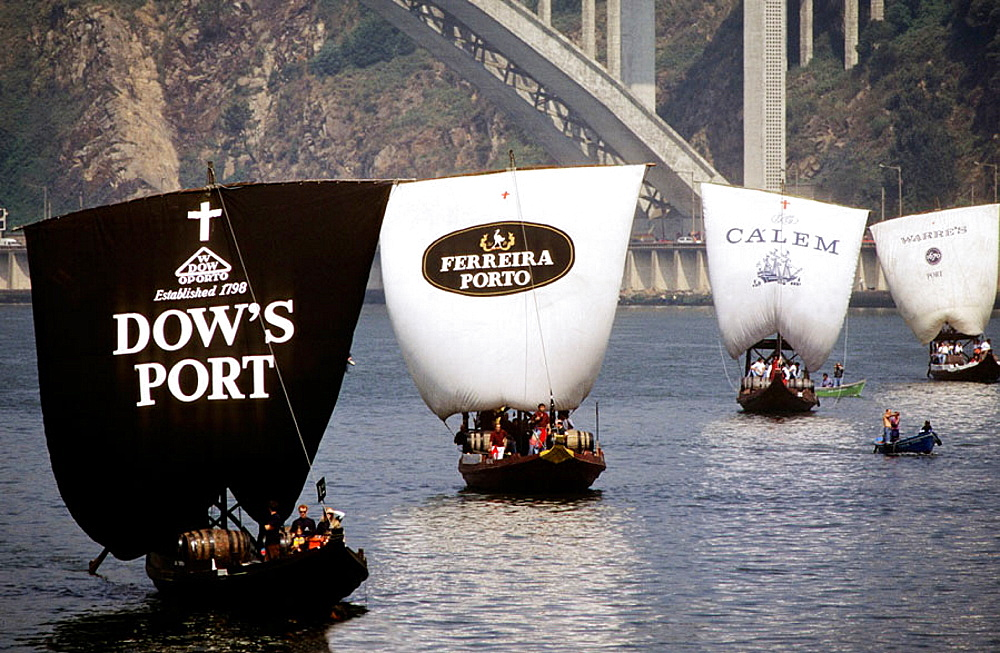On june 24, Rabelos: the boats traditionnally used to transport casks of port, race on the river Douro, Port wine (Vinho do Porto), Oporto, Portugal