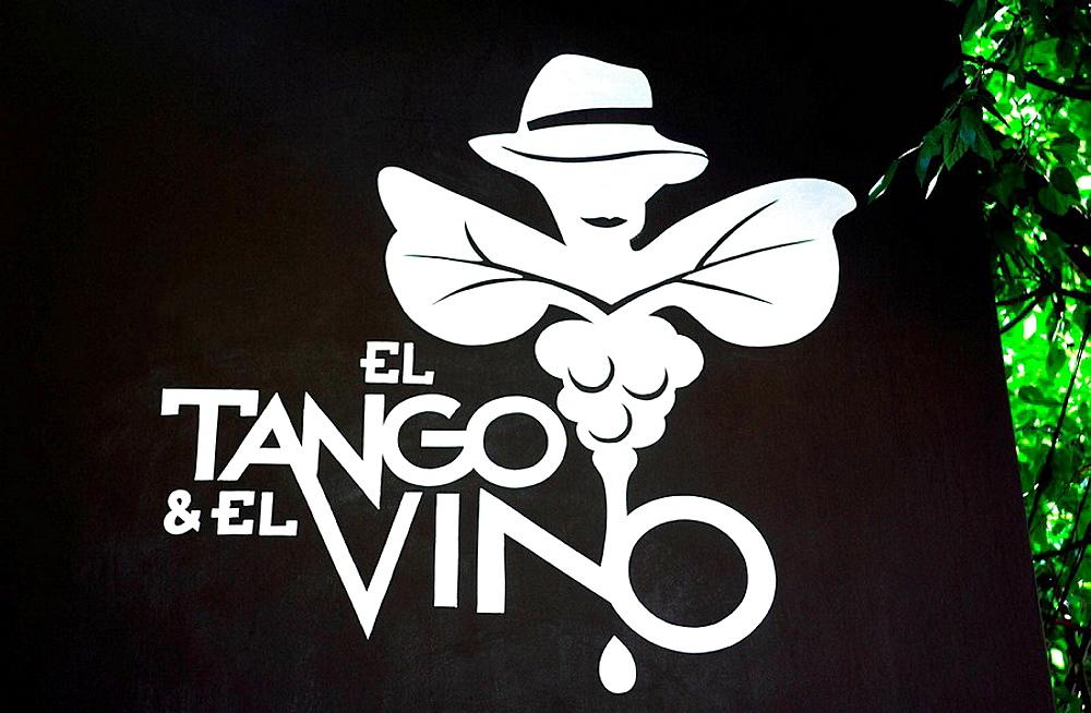 Tango and wine sign, Mendoza, Argentina