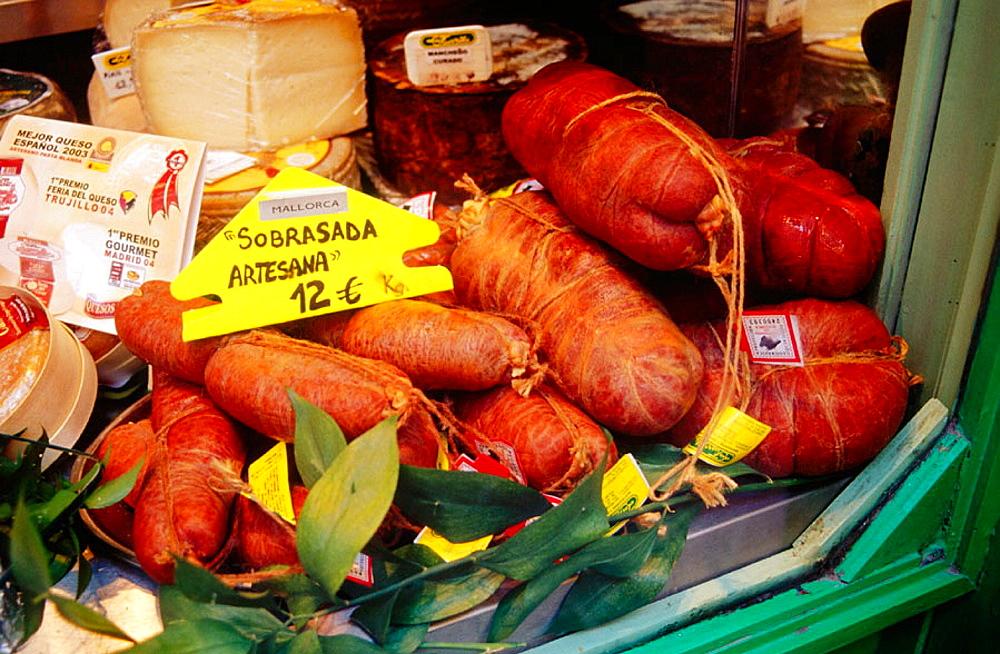 'Sobrasada' (typical sausage) for sale, Palma de Mallorca, Majorca, Balearic Islands, Spain