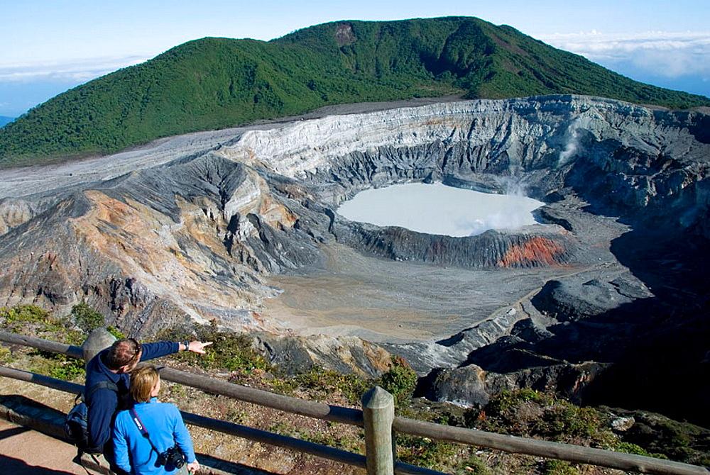 Crater lake, volcano Poas, Poas National Park, Central Valley, Costa Rica.