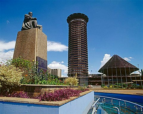 Jomo Kenyatta Monument and Kenyatta Conference Centre, City square, Nairobi, Kenya.