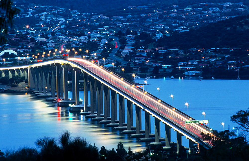 Tasman Bridge over Derwent River estuary, Hobart, Australia