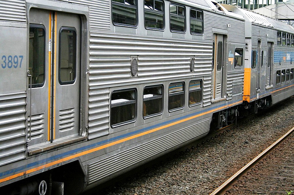 Double-decker compartment of railway line, Liverpool Station, Sydney, New South Wales, Australia